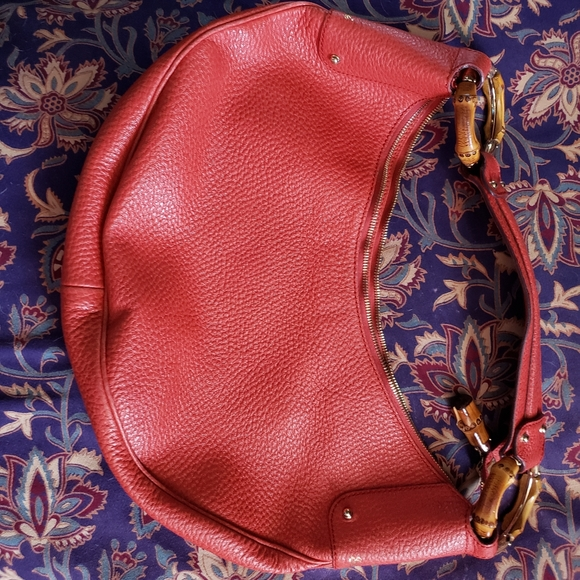 COPY - Gucci  Half Moon Leather Bamboo Ring Hobo …